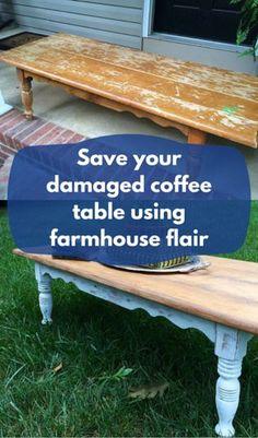 Save Your Damaged Coffee Table Using Farmhouse Flair