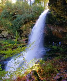 Walk behind Dry Falls in Highlands, NC, in the Nantahala National Forest on Highway 64