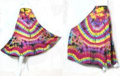 HIPPIE BOHO thai handmade tie dye color mix cotton patchwork MAXI full skirt 426