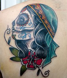 5517af707946e Dia De Los Muertos Sugar Skull Tattoo On Back Shoulder : Sugar Skull Tattoos