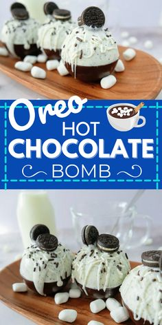 Do you love Hot Chocolate Bombs? These Oreo Hot Chocolate Bombs are perfect for a yummy winter treat! Sweeten up your day with this Oreo Hot Chocolate Bomb recipe. Beautifully tempered chocolate explodes with rich creamy hot chocolate for the best cookies 'n' cream hot chocolate ever! #hotchocolatebombs #recipes #dessert #decadent Hot Chocolate Gifts, Christmas Hot Chocolate, Chocolate Bomb, Hot Chocolate Bars, Hot Chocolate Recipes, Yummy Drinks, Delicious Desserts, Bombe Recipe, Kakao