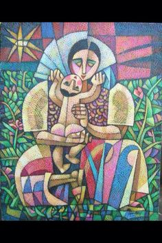 Mother and Child, by Ninoy Lumboy, a Filipino artist, known for his Crosshatchism, his style of painting wherein his art is rendered in a crosshatch of different colors.