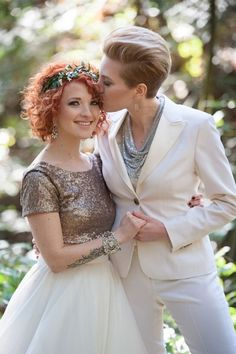 wedding suit - same sex wedding - 25 gorgeous looks for the offbeat bride - Wedding Party