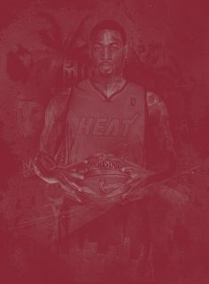 NBA Player Monochromatic Poster Art (Dwyane Wade)