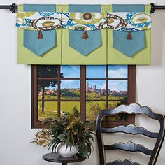 Window Wear Magnetic Window Valance  Contemporary Floral Valance Panel with Moveable and Interchangeable Accessories Allows You to ReDecorate Your Windows Instantly  GreenWhite Reversible Panel with Aqua Blue Green Brown White Geometric Floral Swag Instant Interior Design for Kitchen Bedroom Living Room Family Room -- Find out more about the great product at the image link.