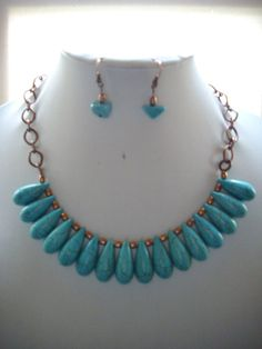 Turquoise Drops with Copper by DesignsbyPattiLynn on Etsy, $55.00