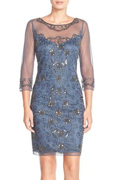 Pisarro Nights Embellished Mesh Sheath Dress available at #Nordstrom