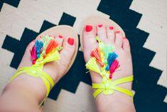 Neon Tassel Sandals