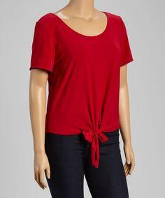 Love this Red Tie-Front Tee - Plus on #zulily! #zulilyfinds
