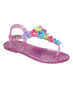 Take a look at this Fuchsia & White Daisy Jelly Sandal on zulily today!