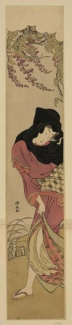 Title: Kaze ni nayamu tōka no onna.   Title Translation: Woman protecting herself against the wind beneath wisteria blooms. Creator: Torii, Kiyonaga, 1752-1815. Date Published: 1780. Medium: 1 print: woodcut, color. Summary: Print shows a woman huddled against the wind beneath wisteria blossoms.