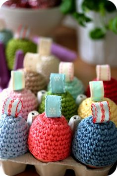 Egg Cozies From Nicki Trench's book, Cute and Easy Crochet