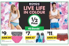 #Woolworths will have #halfprice on #Bonds from tomorrow until 1.11.16 (excludes baby bonds) I'll be picking up some more socks for my son who has about 15 single socks  @woolworths_au @bondsaus