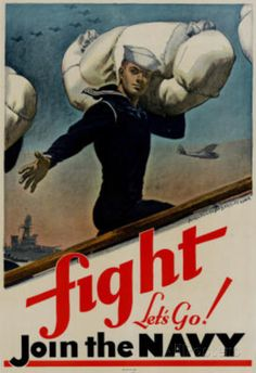 Fight Let's Go Join the Navy WWII War Propaganda Art Print Poster Posters sur AllPosters.fr