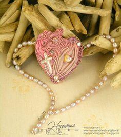 Happy Mother's Day Shibori pendant whit pearls