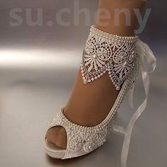 "3""4"" heel satin white ivory lace ribbon ankle open toe Wedding shoes size 5-9.5"