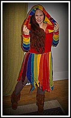 Ready to ship  Up-cycled sweater dress, Rainbow, Pixie Coat, Elf Coat, Katwise Inspired on Etsy, $95.00