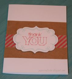 Thank you card using kraft paper, smoothie striped washi tape, smoothie and glacier inks, A True Thank You stamp set, and Frame Flair stamp sets