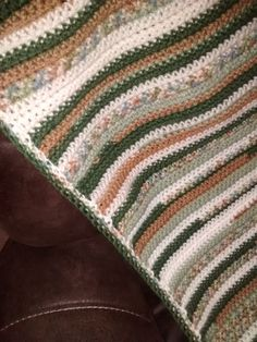 Crocheted Camo Striped Afghan by OldLadyPastimes on Etsy