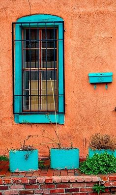Under The Turquoise Sky Southwestern Home, Southwest Decor, Southwest Style, New Mexico Style, New Mexico Homes, Wall Colors, House Colors, Colours, Santa Fe Style