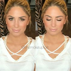 Bronzed glowy makeup look with defined eye and nude lip