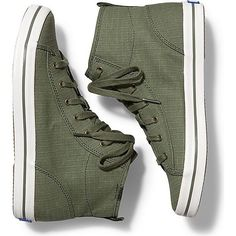 Keds KICKSTART HI RIPSTOP ($55) ❤ liked on Polyvore featuring shoes, sneakers, olive, keds footwear, olive green sneakers, flexible shoes, army green shoes and olive green shoes