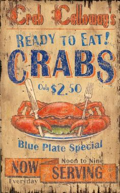 Crab Calloway - Kitchen and Home Vintage Signs