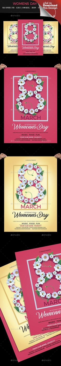 """8 march, 8 march flyer, advertising, club, concert, day, elegant, event, feminine, flower flyer, flowers, flyer, flyer template, ladies flyer, leaflet, love, March 8, mother, Mother s Day, party, poster, spa, spring flyer, template, women's, women's day, women's day flyer, Women's Day poster Women's Day Flyer   Women's Day / Mothers Day Flyer   Fully layered 2 .PSD   8.3×11.7 (+3mm"""" bleed)   300 DPI   CMYK, Print Read   Fonts used link attached with main file   Code Bold…"""