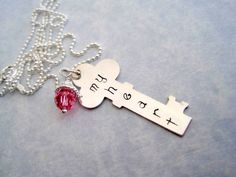 Hand stamped necklace my heart sterling silver key by marybeadz, $30.00