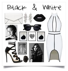 """Black & White"" by bluespace ❤ liked on Polyvore featuring Jimmy Choo, LULUS, Monique Péan, Lime Crime, BaByliss Pro and Dsquared2"