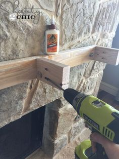 How to Build and Hang a Mantel on a Stone Fireplace - Hey guys! I have been dying to share this tutorial with you all! I built and installed this mantel - Fireplace Update, Home Fireplace, Faux Fireplace, Fireplace Remodel, Fireplace Surrounds, Fireplace Design, Fireplace Ideas, Mantel Ideas, Stone Fireplace Decor