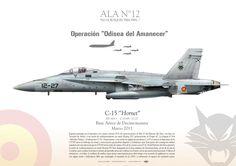 "SPANISH AIR FORCE . EJÉRCITO DEL AIRE Operación ""Odisea del Amanecer"" (Odissey Down) ALA N°12 Ejercito del Aire Base Aérea de Decimomannu, Marzo 2011  EF-18A+ / C-15 ""Hornet"" ALA N°12 JP-1089"
