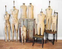 A Collection of Antique Dress forms - Mannequins. via Etsy. Dress Form Mannequin, Vintage Mannequin, Vintage Antiques, Vintage Items, Vintage Dresses, Vintage Outfits, Displaying Collections, Fabulous Dresses, Mannequins