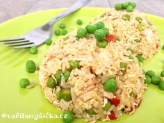 Hráškové rizoto s tofu Fried Rice, Tofu, Fries, Low Carb, Ethnic Recipes, Diet, Nasi Goreng, Stir Fry Rice