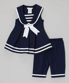 Look at this Gerson & Gerson Navy Sailor Dress & Capri Pants - Infant, Toddler & Girls on today! Girls Summer Outfits, Little Girl Outfits, Toddler Girl Outfits, Little Girl Dresses, Toddler Dress, Kids Outfits, Infant Toddler, Toddler Girls, Baby Outfits