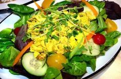 Each sandwich can be ordered as a salad for $1 extra. Above, coronation chicken salad.