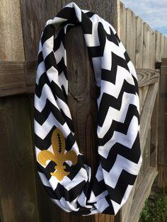 Black Chevron Fleur de lis Infinity Scarf. Great Stocking stuffer! by SewKuteandEmbroidery on Etsy https://www.etsy.com/listing/205047931/black-chevron-fleur-de-lis-infinity
