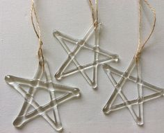 These pretty handmade Christmas Stars have been handmade by myself and fused in my kiln to 800 degrees and slowly cooled to ensure strength.  Each star approximately measures 10 cm across, they are individually made so each one is unique. They have string attached for easy hanging, they will come carefully wrapped and boxed for safe delivery.  These make lovely gifts and look lovely hung on Christmas trees, in windows or anywhere where they can catch the light.  Please take a look in my shop…