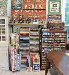Cathe-Holden-Inspired-Barn-Studio-40 Sewing Room Organization, Craft Room Storage, Craft Rooms, Paper Storage, Organization Ideas, Storage Shelving, Organizing Tips, Organising, Vintage Craft Room