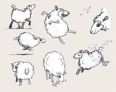 Comme un oiseau sur la branche, le portfolio de Nathalie Biston Lamb Drawing, Sheep Drawing, Funny Sheep, Cute Sheep, Love Drawings, Art Drawings, Cartoon Drawings, Animal Sketches, Animal Drawings