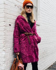 Street Style, fuchsia pink coat, faux fur coat, fuchsia color faux fur jacket, bright pink coat, orange beanie hat