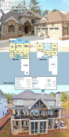 Architectural Designs 4 Bed House Plan 24370TW: 3-car garage in front, incredible views with a vaulted porch in back. Over 2,800 square feet of heated living space. Ready when you are. Where do YOU want to build?