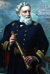 Heroic rendering of Capt. John Ashcroft Henriques painted by Irwin D. Hoffman and part of the Coast Guard Academy art collection. U.S. Coast Guard image.