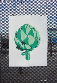 Artichoke Silkscreen Print by Jen Kindell Poster Prints, Art Prints, Posters, Theme Pictures, Vellum Paper, Art Diary, Nature Illustration, Hand Painted Signs, Nature Prints