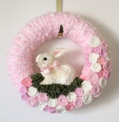 Easter Bunny Wreath  Pink Spring by TheBakersDaughter  It's very cute!