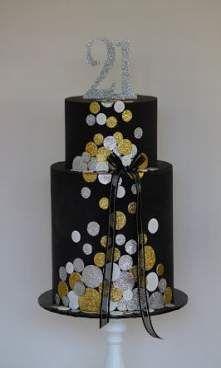 Black And Gold Birthday Cake, Black And Gold Cake, Black Gold, 80 Birthday Cake, Birthday Cakes For Women, Mom Birthday, Birthday Parties, Confetti Cake, Glitter Confetti