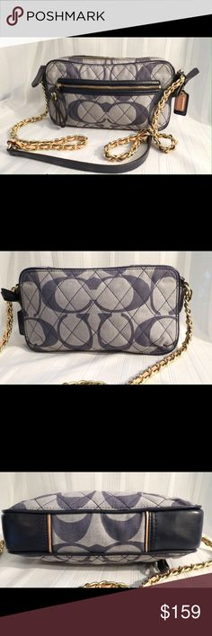 """COACH Poppy Quilted Signature C Denim Flight bag COACH Poppy Quilted Signature C Denim Flight Crossbody Bag    RARE Excellent Gently Used Condition Flawless like NEW All of my items are absolutely positively guaranteed 100% genuine, I do not sell FAKE anything!  25044 coach    Height: 5.25""""  Width: 9""""  Depth: 2""""  Strap Drop: 22""""  No Trades (S080) Coach Bags Crossbody Bags"""