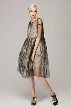 Smock dress in sheer mesh - FrontRowShop