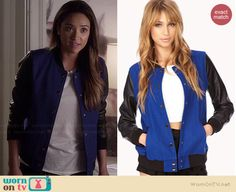 Emily's blue varsity jacket with leather sleeves on Pretty Little Liars.  Outfit Details: http://wornontv.net/34909/ #PLL