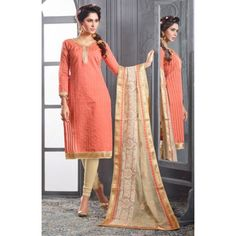 Chanderi Cotton Peach Churidar Suit Dress Material - 16514